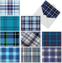 Tartan Blue - Set of 10 Blank Note Cards with Envelopes (4 x 5.12 Inch) - Assorted Greeting Cards, Plaid All-Occasion Notecards for Kids, Baby Boy, Thank You, Birthday M3100
