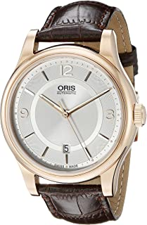 Classic Date Silver Dial Leather Strap Ladies Watch