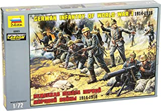 Zvezda 8083 - German Infantry of World War I 1914-1918 - Unpainted Plastic Soldiers 7 pcs - Scale 1:72 41 Parts 1
