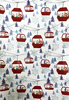 Multi Breed Dogs Riding Red Ski Lift with Glitter Trees and Snowflake Accents Christmas Holiday Gift Wrapping Paper Sheets