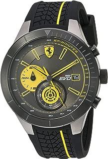 Scuderia Ferrari Men's Stainless Steel Quartz Watch with Silicone Strap, Black, 27 (Model: 830342)