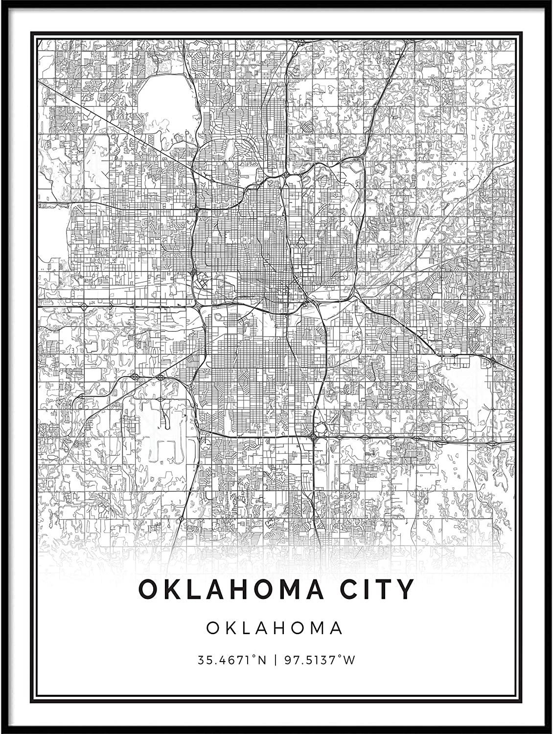 Squareious Cheap Oklahoma City map Poster Print Modern low-pricing Whi Black and
