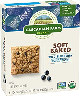 Cascadian Farm Organic Blueberry Soft Baked Squares, Snack Bar, 6 ct, 7.44 oz