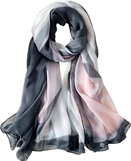 Silk Feeling Lightweight Fashion Scarf Shawl Geometric Printed Gift For Her