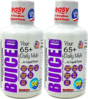 BUICED Liquid Senior 65+ Daily Multivitamin | 2-Pack | Gluten Free | GMO Free | Allergen Free | Soy Free | BPA Free | Vega...