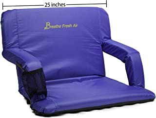 Memory Foam Stadium Bleacher Seat – Foam Chair with Back and Armrest – Adjustable and Waterproof Chair with Backpack Straps – Extra Wide Foam Seat – Perfect for Bleachers Lawns
