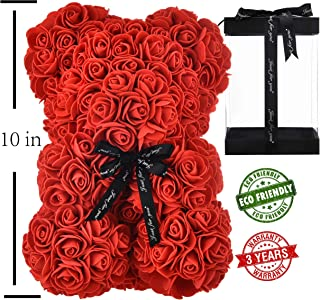 FLOWERS Rose Bear Rose Teddy Bear Best Gift for Valentines Day, Anniversary, Birthdays & Bridal Showers Fully Assembled 10 inch Bear- w/Clear Gift Box (red)