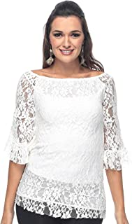 ZmuruD Lace Off Shoulder Blouse For Women