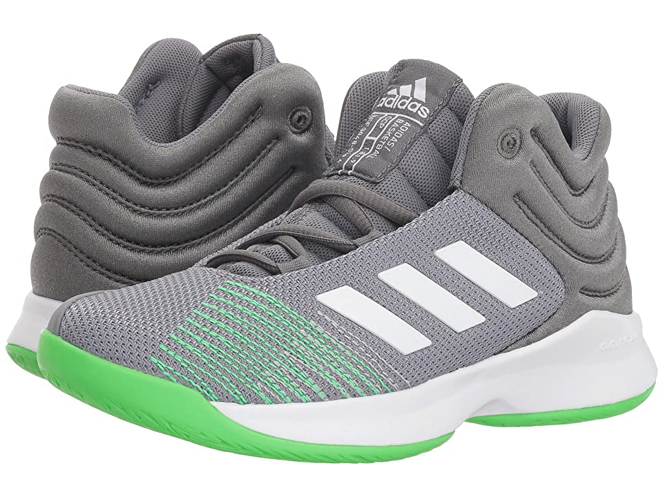 adidas Kids Pro Spark Basketball (Little Kid/Big Kid) (Grey/White/Lime) Kid