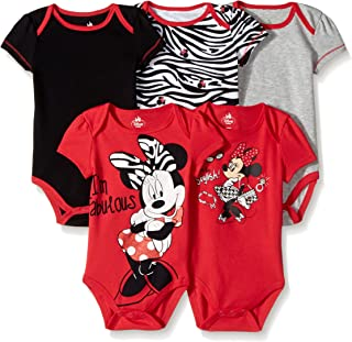 Disney Baby Girls  Girl Minnie 5 Pack Bodysuit, Red, 3-6 Months