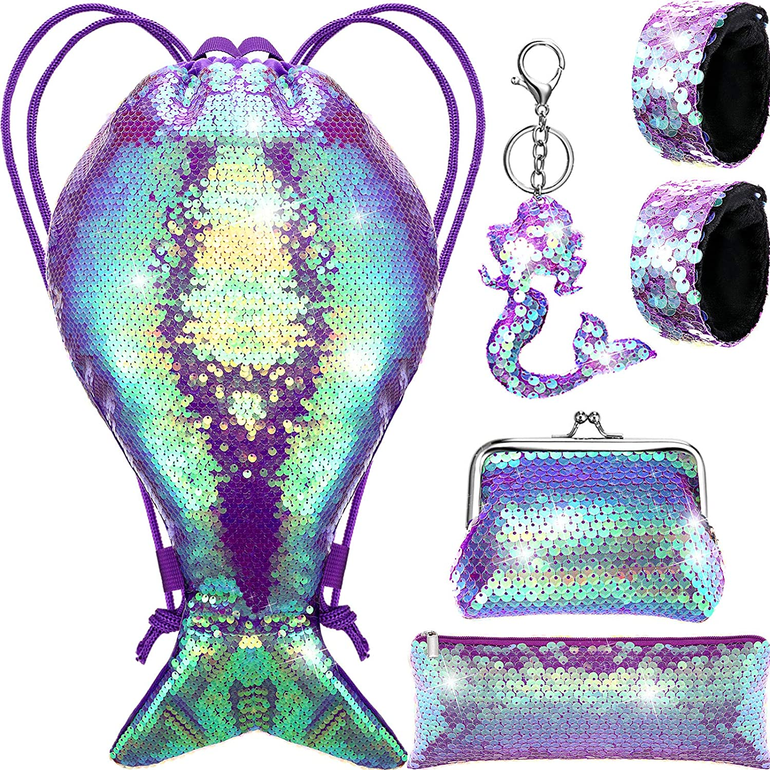 Mermaid Tail Reversible Albuquerque Mall Max 62% OFF Sequin Drawstring Tran Bag Backpack Kit