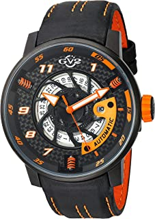 GV2 by Gevril Motorcycle Sport Mens Swiss Automatic Black Leather Strap Watch, (Model: 1304)