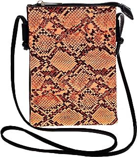 MIRMARU Women's Faux Leather Animal Print Small Crossbody Bag - Travel Shoulder Cross Wallet Purse with Zipper Closure.