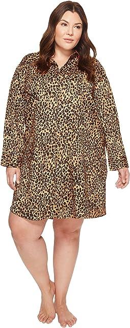 LAUREN Ralph Lauren - Plus Size Sateen Leopard Sleepshirt