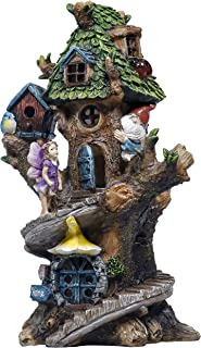 TERESA'S COLLECTIONS 12.8 Inch Spiral Stair Fairy House Garden Statues with Solar Powered Tree House Garden Lights Figurin...