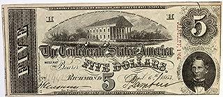 1863 Confederate States of America $5 Five Dollar Bill Note #87