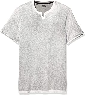 Buffalo David Bitton Men's Short Sleeve Knit, Split Neck Slub Jersey