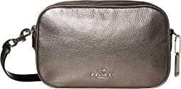 코치 크로스백 COACH Metallic Pebbled Leather Jes Crossbody,Silver/Gunmetal