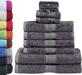 GREEN MARK Textilien NatureMark - Lot de 10 Serviettes en éponge, 100% Coton, Gris Anthracite