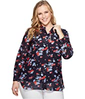 LAUREN Ralph Lauren Plus Size Floral Crinkled Cotton Shirt