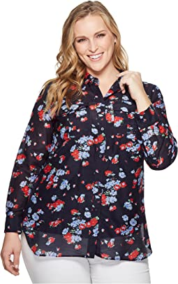 LAUREN Ralph Lauren - Plus Size Floral Crinkled Cotton Shirt