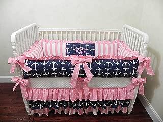 Nursery Bedding, Baby Bedding Set Tori, Girl Crib Bedding, Nautical Baby Bedding, Pink and Navy Crib Bedding, Anchor Baby Bedding - Choose Your Pieces