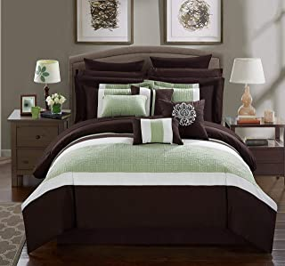Chic Home Pisa 16 Piece Bed in a Bag Comforter Set, Queen, Brown