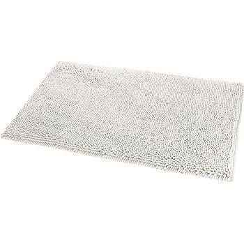 """AmazonBasics Non-Slip Microfiber Shag Bathroom Rug Mat, 21"""" x 34"""", White"""