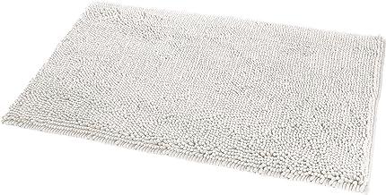 AmazonBasics - Alfombrilla de baño, antideslizante, Microfibra, Blanco, 53 x 86 cm