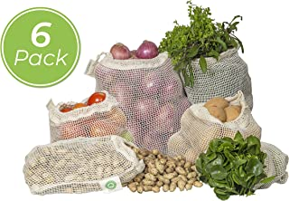 Reusable Cotton Mesh Produce Bags - Durable, Double Stitched, Washable with Tare Weight & Drawstring - Certified Organic Cotton Mesh Bags for Grocery Shopping, Vegetables & Fruits| 6 Bags (2L, 2M, 2S)