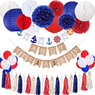 ELOPELY Nautical Baby Shower Party Decoration Set, AHOY ITS A BOY Banner Decor Baby Boy Party Decoration Supplies Balloons Paper Lanterns Tissue Pom Poms (Blue, Red)