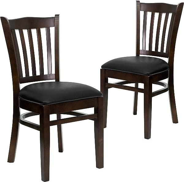 Flash Furniture 2 Pk HERCULES Series Vertical Slat Back Walnut Wood Restaurant Chair Black Vinyl Seat