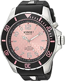 KYBOE! Power Stainless Steel Quartz Watch with Silicone Strap, Black, 26 (Model: KY.55-004.15
