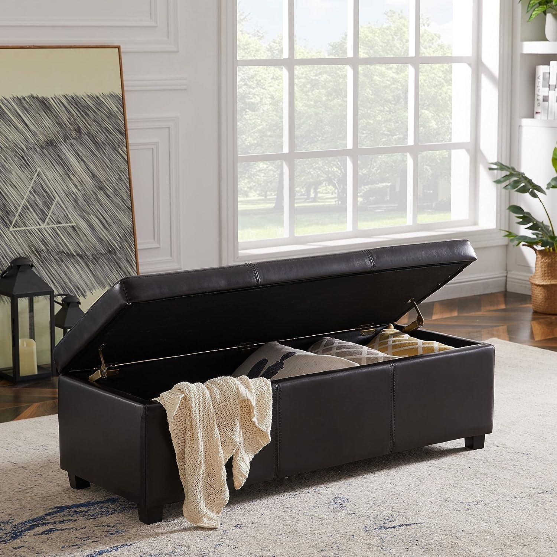 48inch 最新アイテム Storage Bench Tufted Flip Top B Frame Solid Ottoman 予約 Wood