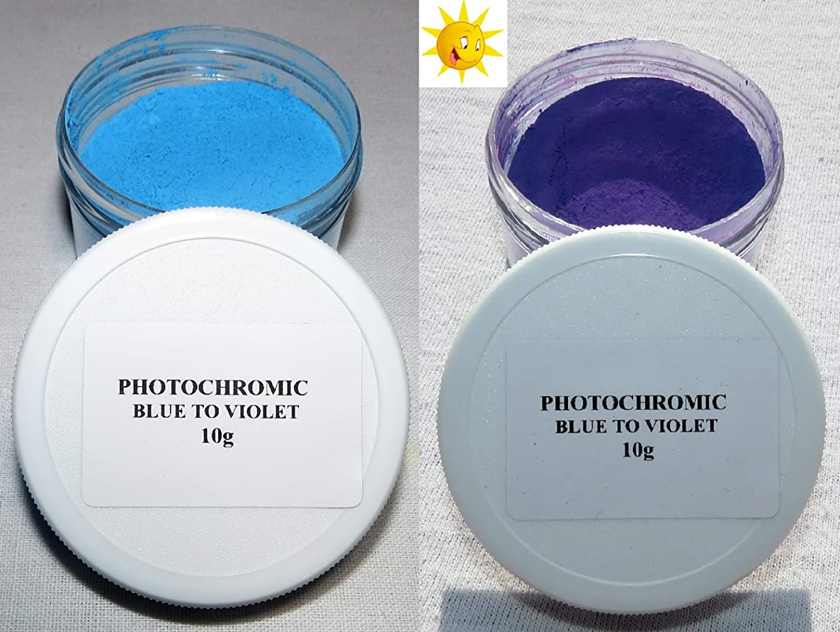 PhotoChromic Pigment That Changes Colors When Exposed to Sunlight or UV Light, and reverts to its Original Color When Sunlight is Blocked. (10g, Blue to Violet)