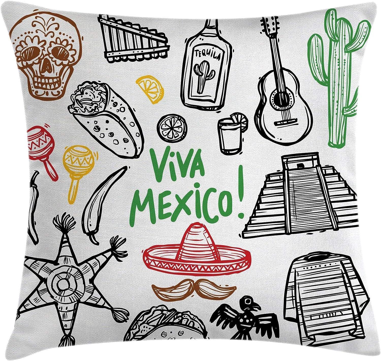 Funda de cojín para cojín Mexicano, Sketch de Objeto Latino con Burritos, Guitarra, Botella de Tequila y piñata Quetzal Coati, Funda de Almohada Decorativa Cuadrada Decorativa, 45x45 Negro marrón