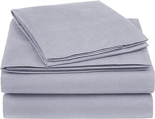 AmazonBasics Essential Cotton Blend Bed Sheet Set, Twin, Dark Grey