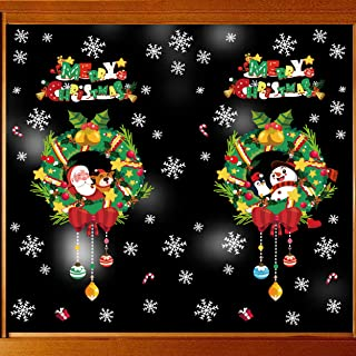 Christmas Window Clings Decals Stickers Santa Claus Elk and Snowflake Stickers for Christmas Home Decorations (SAR-16)
