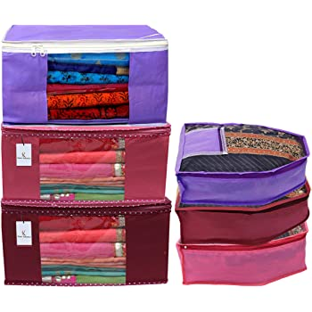 Heart Home Non Woven 3 Pieces Saree Cover/Cloth Wardrobe Organizer and 3 Pieces Blouse Cover Combo Set (Pink & Maroon & Purple) HEART3193