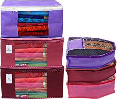 Kuber Industries Non Woven 3 Pieces Saree Cover/Cloth Wardrobe Organizer and 3 Pieces Blouse Cover Combo Set (Pink & Maroon & Purple)