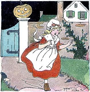 Frightened Little Girl Running from a Jack-O'-Lantern Vintage Halloween Pumpkin Metal Tin Sign 8X12 Inch