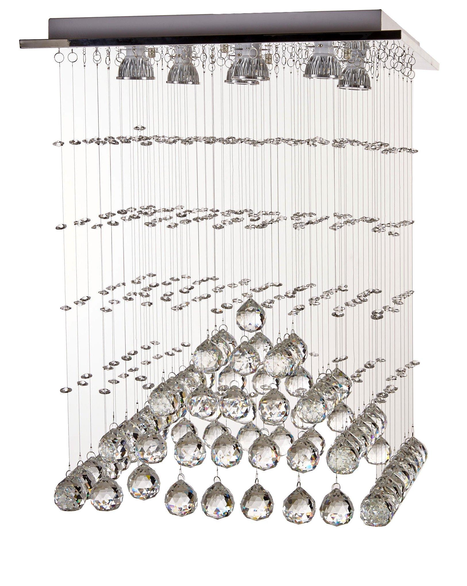 Diamond Life 现代雨滴 LED 吊灯带水晶球天花板照明灯具 宽 18 x长 18 x高 24,含灯泡