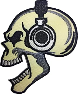 Papapatch Skeleton Skull Headphone Biker Punk Ride Motorcycle Jacket DIY Sew Iron on Embroidered Applique Badge Sign Patch - Cream (IRON-SKULL-HEAD-PUNK-CREAM)