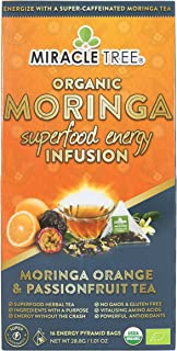 Miracle Tree's Energizing Moringa Infusion - Orange & Passionfruit | Super Caffeinated Blend | Healthy Coffee Alternative, Perfect for Focus | Organic Certified & Non-GMO | 16 Pyramid Sachets