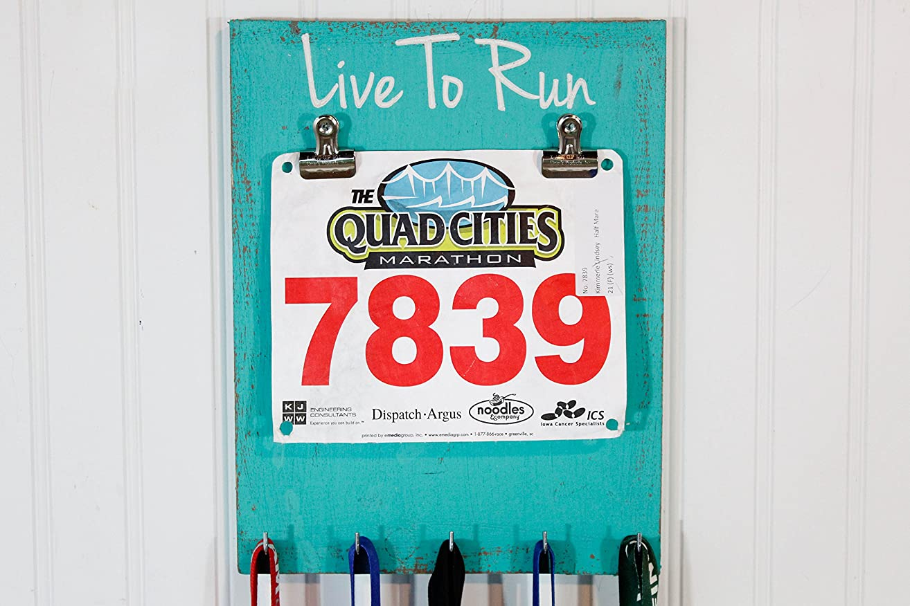 Running Medal Holder Carved Live To Run - Race Medal Holder- Bib Holder