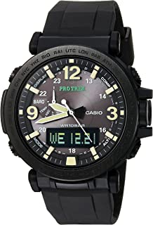 Men's Pro Trek Quartz Watch with Silicone Strap, Black, 30.5 (Model: PRG-600Y-1CR)