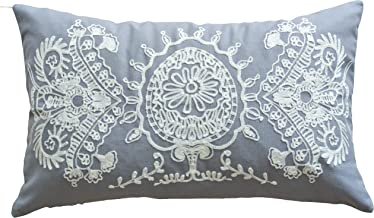 Blue Dolphin Designer's Special Pattern Embroidery Decorative Throw Pillow Cover 20x12 Grey White