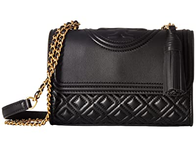 Tory Burch Fleming Small Convertible Shoulder Bag (Black) Shoulder Handbags