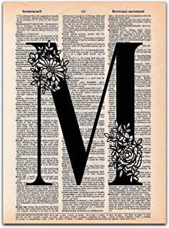 M - Monogram Wall Decor, Letter Wall Art, Dictionary Page Art Print, UNFRAMED