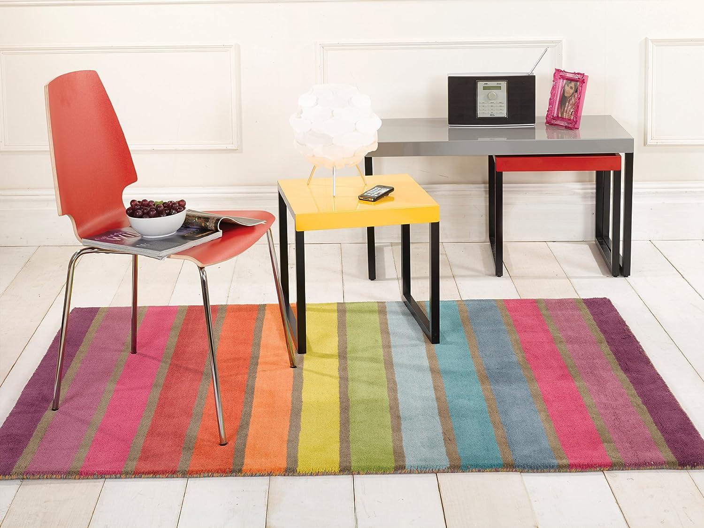 Lord of Rugs Illusion Candy Dick Modern handgetuftet Wolle Streifen Design Regenbogenfarben Teppich in 4 Größen, Wolle, Mehrfarbig, 160 x 220 cm (5'3'' x 7'3'') B014ZUKH8U